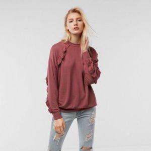 Express One Eleven Overszd Ruffle Sweatshirt NWOT